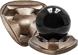 Keled Rocks Shungite Stone Sphere Ball on Wooden Beech Stand Hand Track Antistress Relaxing Toy