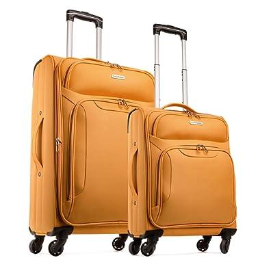 TravelCross Barcelona Luggage 2 Piece Lightweight Expandable Spinner Set - Orange