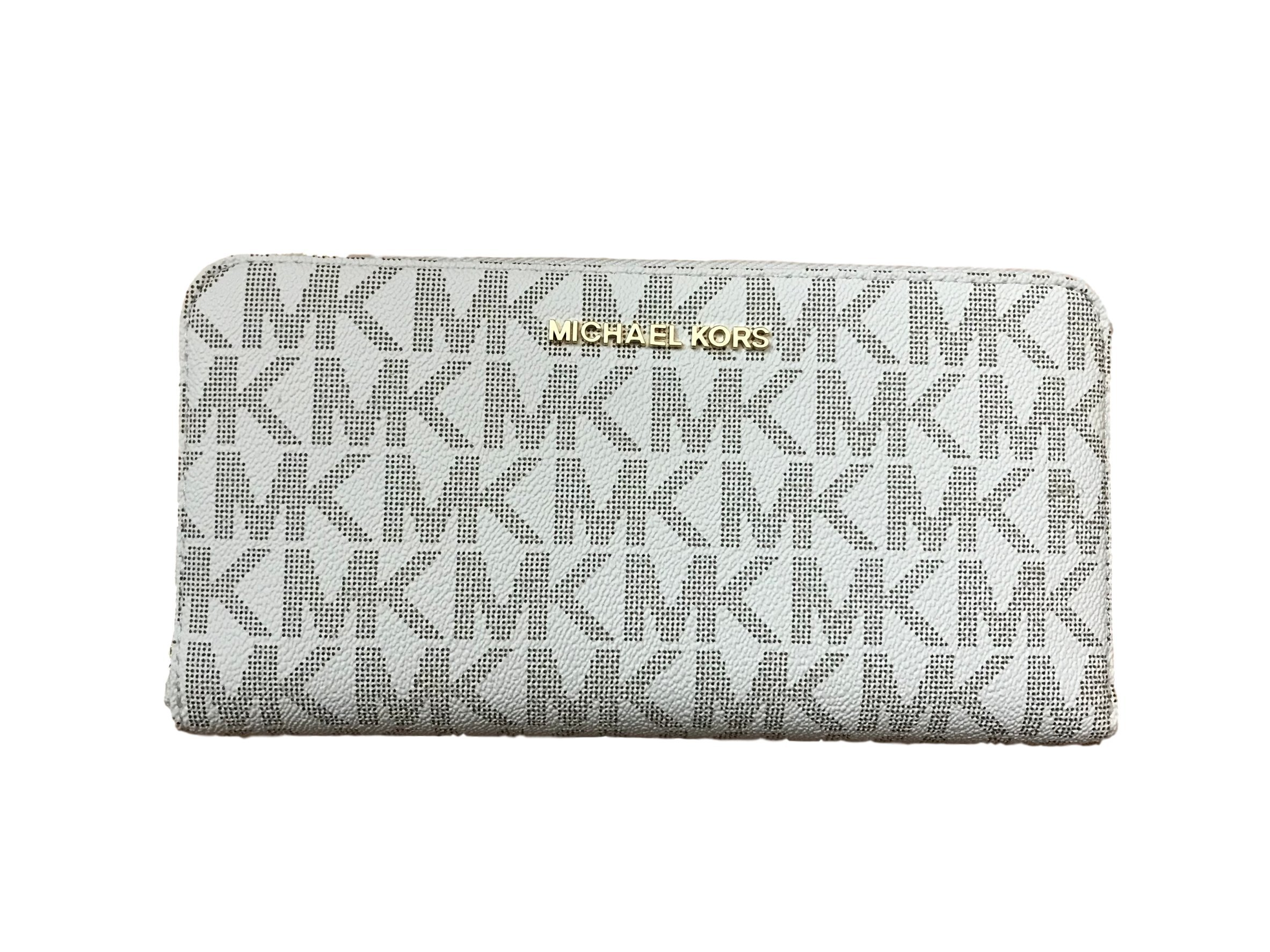 Michael Kors Jet Set Travel Zip Around Travel Monogram Wallet Vanilla PVC
