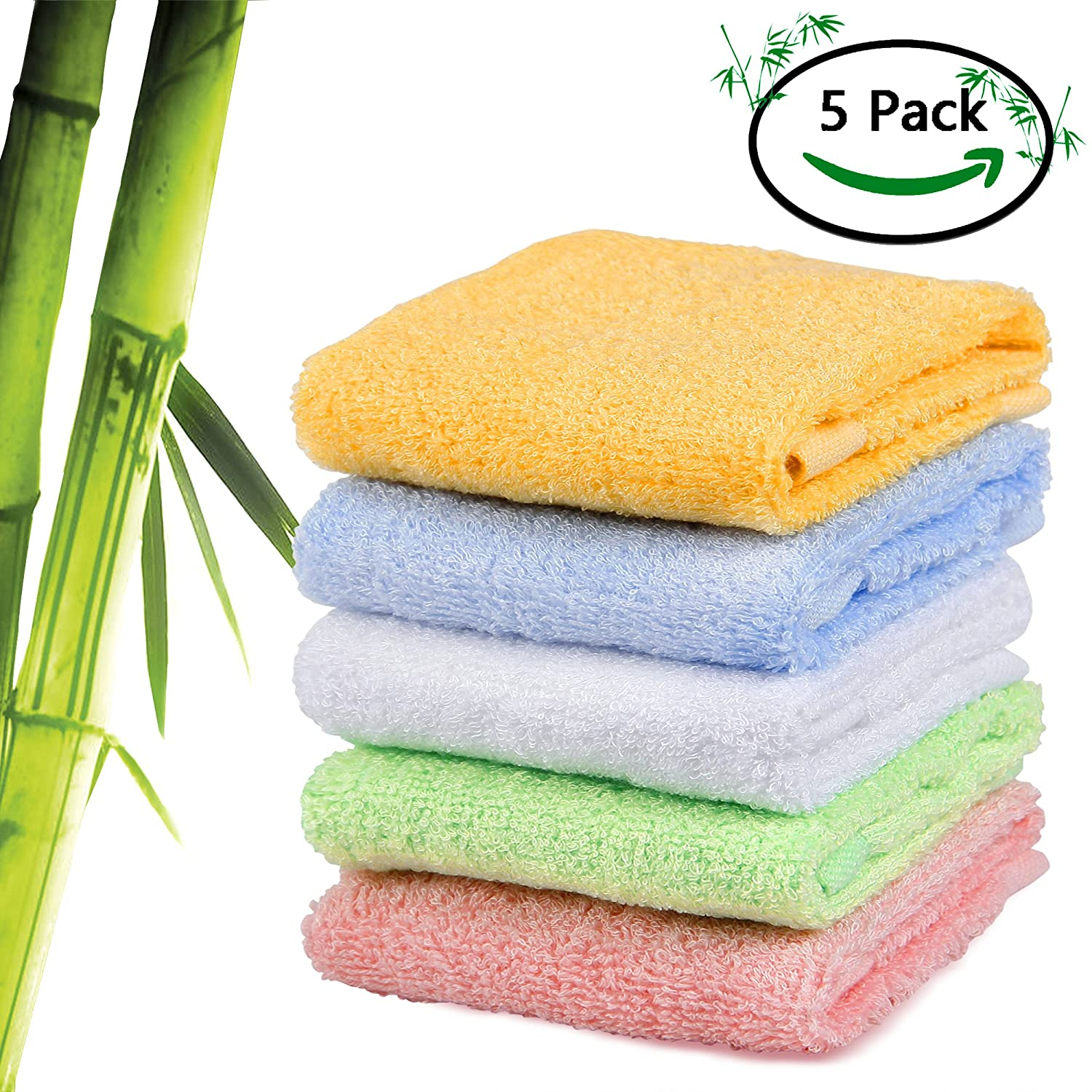 CNMB Baby Bamboo Bath Washcloths - Ultra Soft Hypoallergenic Newborn Baby Face Towels for Sensitive Skin, Reusable Wipes - Perfect Baby Gifts, Baby Registry, Baby Travel Bathing Kit BBWS0002578CM