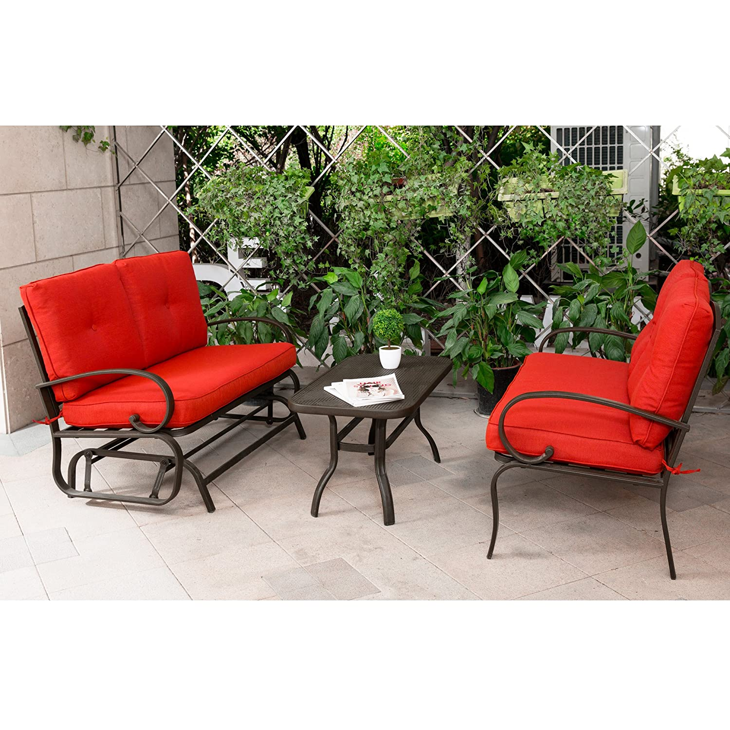 Cloud mountain 3 piece metal conversation set cushioned outdoor furniture garden patio wrought iron conversation set with coffee table loveseat sofa