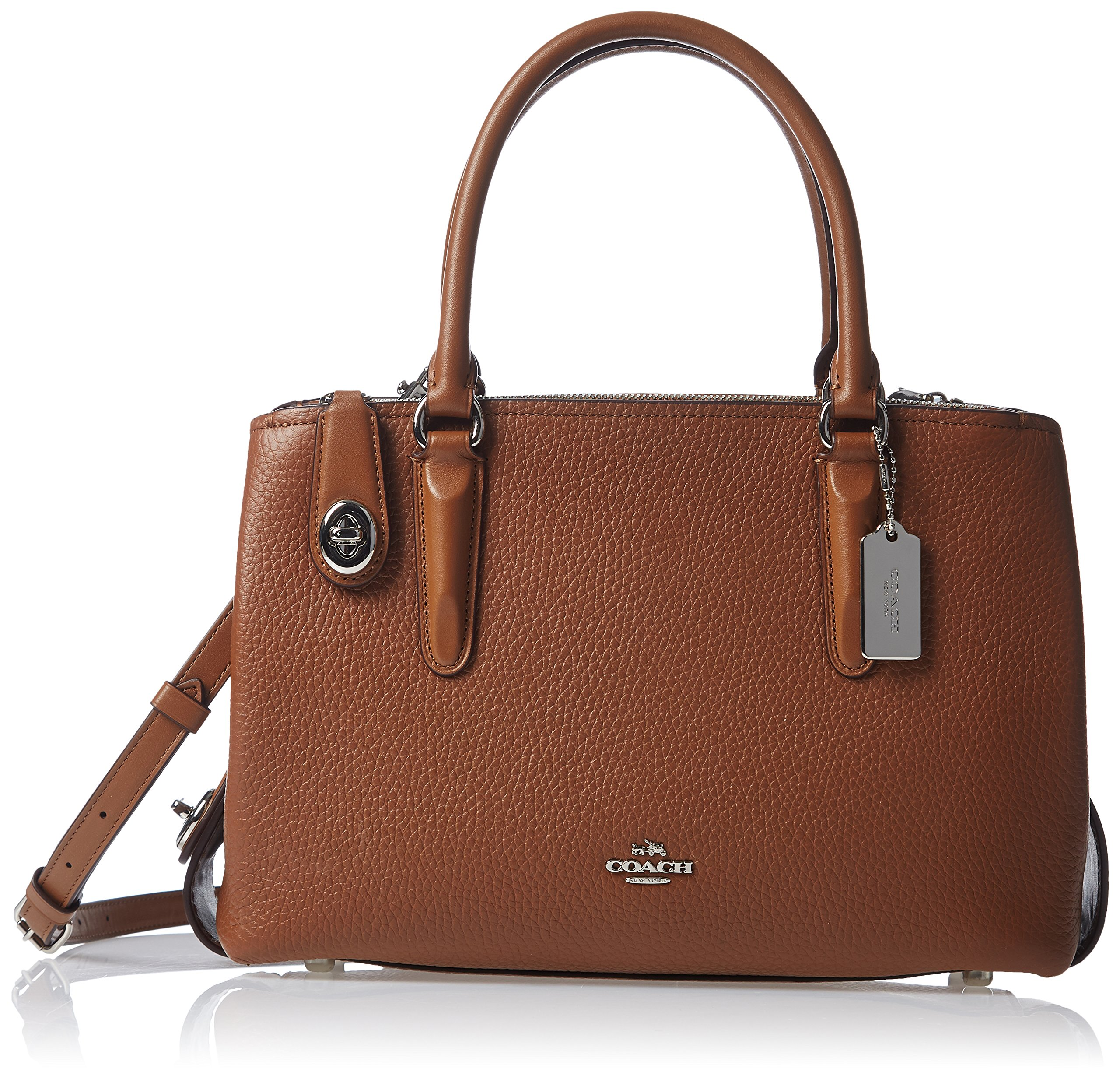 COACH Women's Pebbled Brooklyn 28 Carryall SV/Saddle Satchel