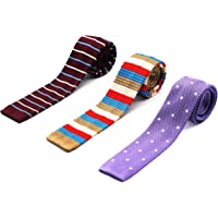 "ZENXUS Vintage Skinny Knit NeckTies for Men 3-PAK 2.2"" Flat-end Smart Sock Ties"