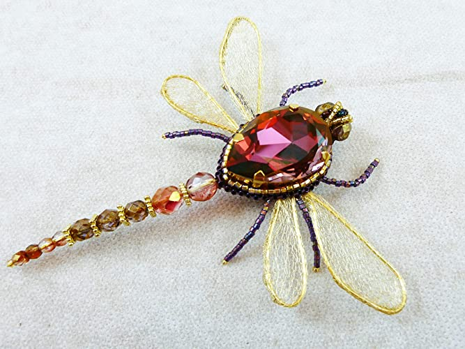 aee42e1e62f46 Amazon.com: Dragonfly Brooch, Insect jewelry, Swarovski crystal ...