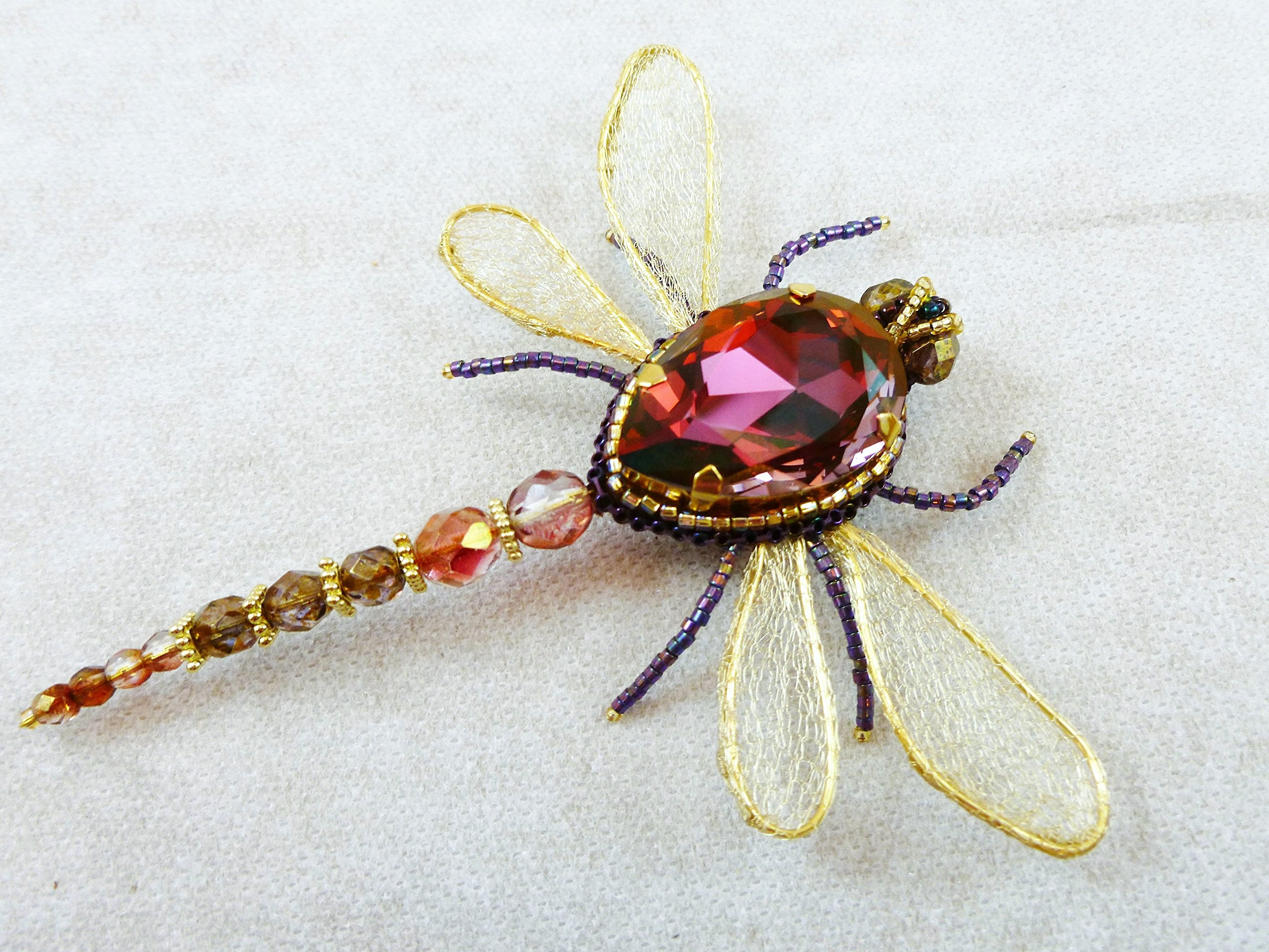 Dragonfly Brooch, Insect jewelry, Swarovski crystal Dragonfly brooch, OOAK Dragonfly pin, Insect pin, Designer insect Brooch with Swarovski