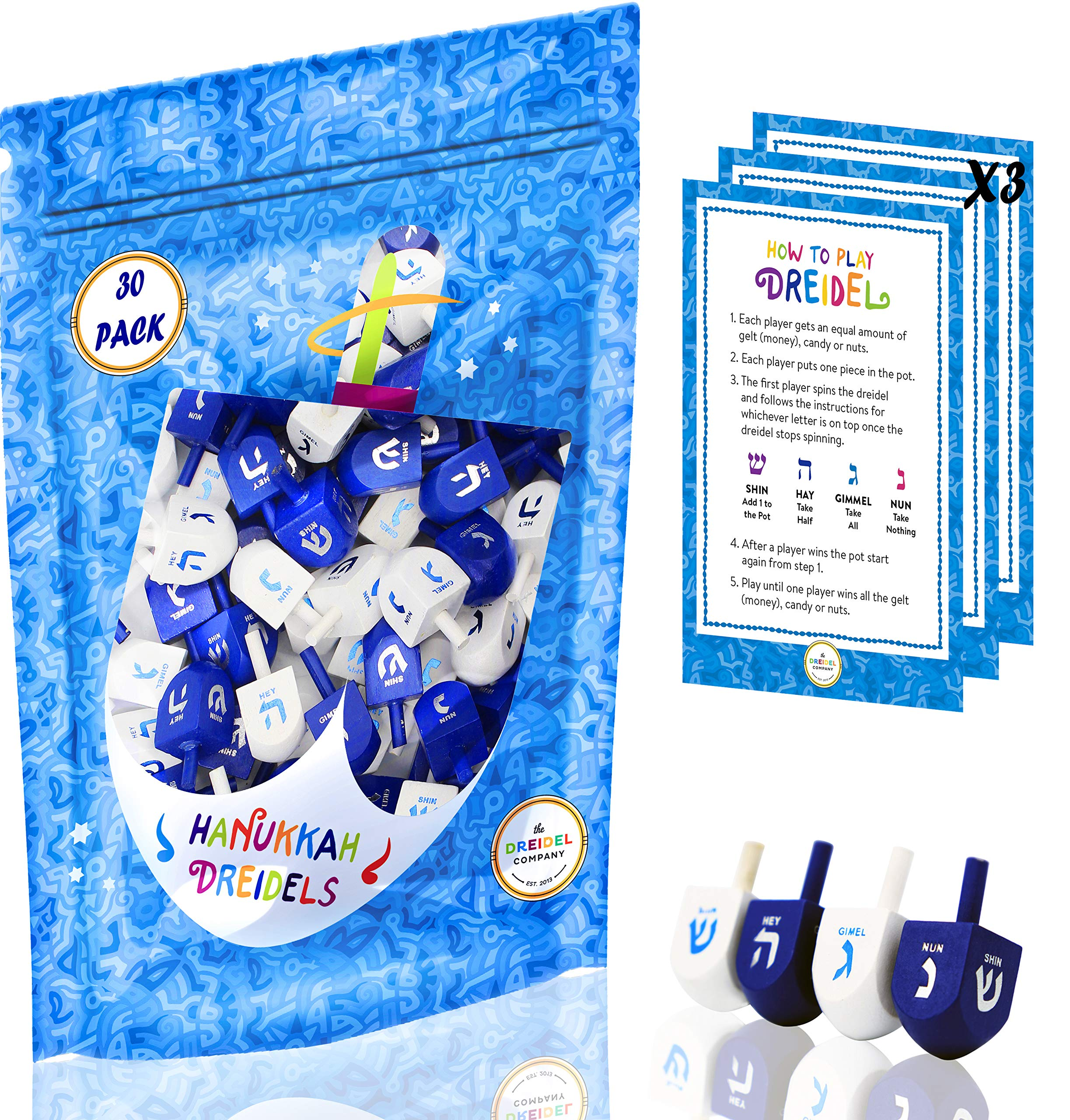Wood Dreidel 30 Solid Blue & White Wooden Hanukkah Dreidels Hand Painted With English Transliteration - Includes x3 Game Instruction Cards! (30-Pack) by The Dreidel Company (Image #1)
