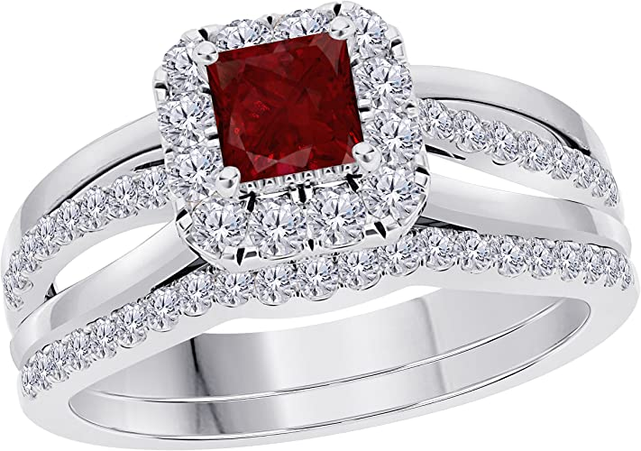 Jewelryhub 14k White Gold Plated Sterling Silver Pear Cut Created Pink Sapphire CZ Solitaire Engagement Ring 1.75 CTW For Womens