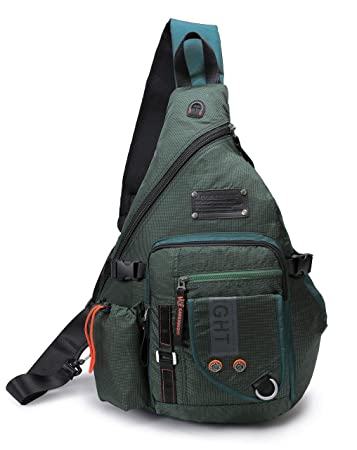 DDDH Large Sling Bags Crossbody Backpack 14.1-Inch Chest Daypack Travel Bag Book Bag for Men Women Green