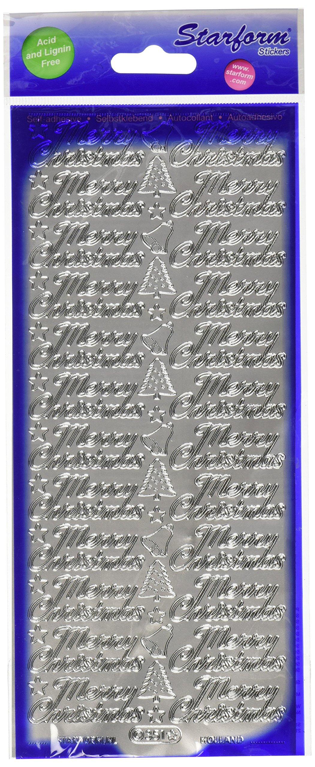 Starform Deco Stickers, Silver, Merry Christmas
