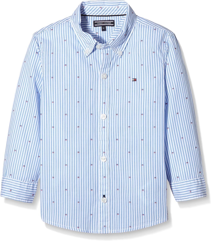 Tommy Hilfiger Flag Clipping Dobby Shirt L//S Camicia Bambini e Ragazzi