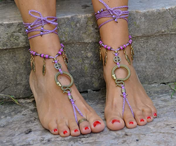 26132c2e56d2 Image Unavailable. Image not available for. Color  Snake Barefoot Sandals  Brass and Lilac Hippie Beach Wedding ...