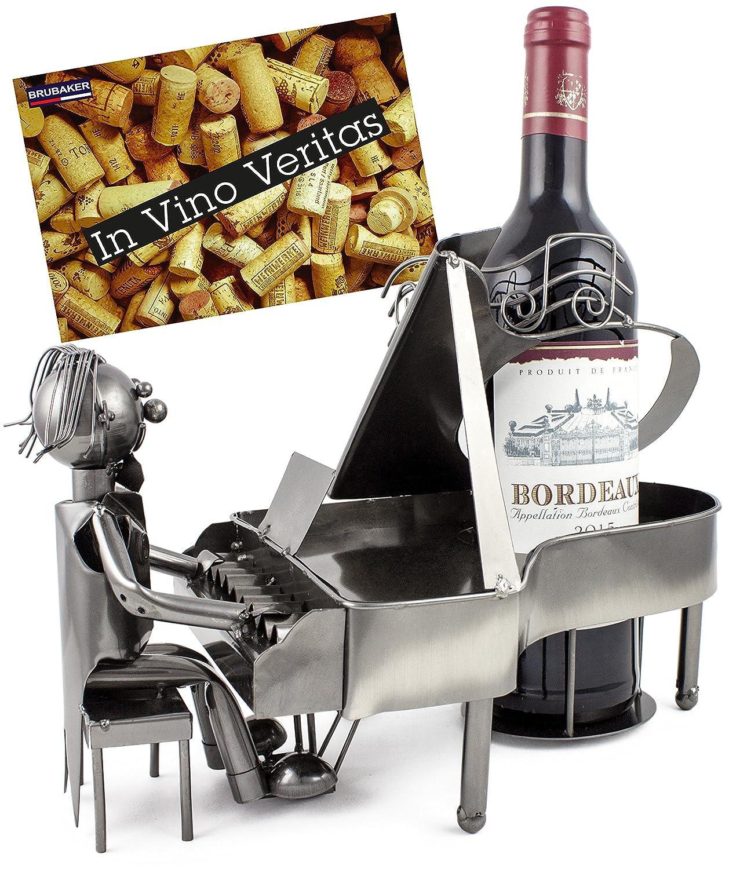 /Soporte de Botellas de Vino Pianista Piano Jugador Metal Escultura con Tarjeta de Regalo Brubaker/