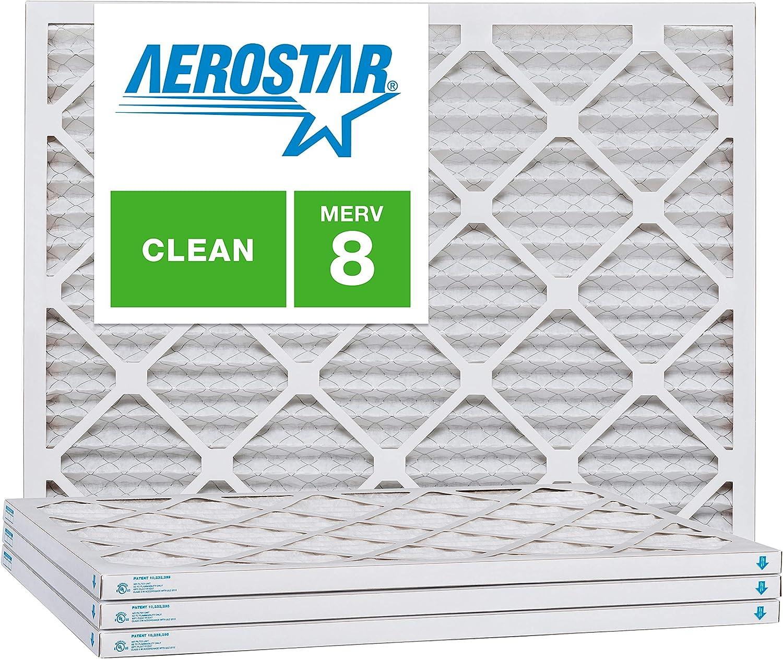 Aerostar 14x16x1 MERV 8, Pleated Air Filter, 14x16x1, Box of 4, Made in The USA