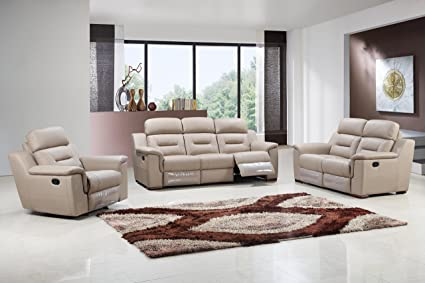 Blackjack Furniture 9408 BEIGE Sofa Set Leather Match Sofa, Loveseat,  Chair, Beige