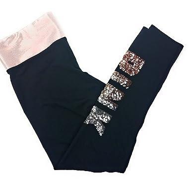 e9e86dc6e2e049 Image Unavailable. Image not available for. Color: VS PINK Victoria's  Secret Pink Bling Sequins Cotton Legging Yoga, Black ...