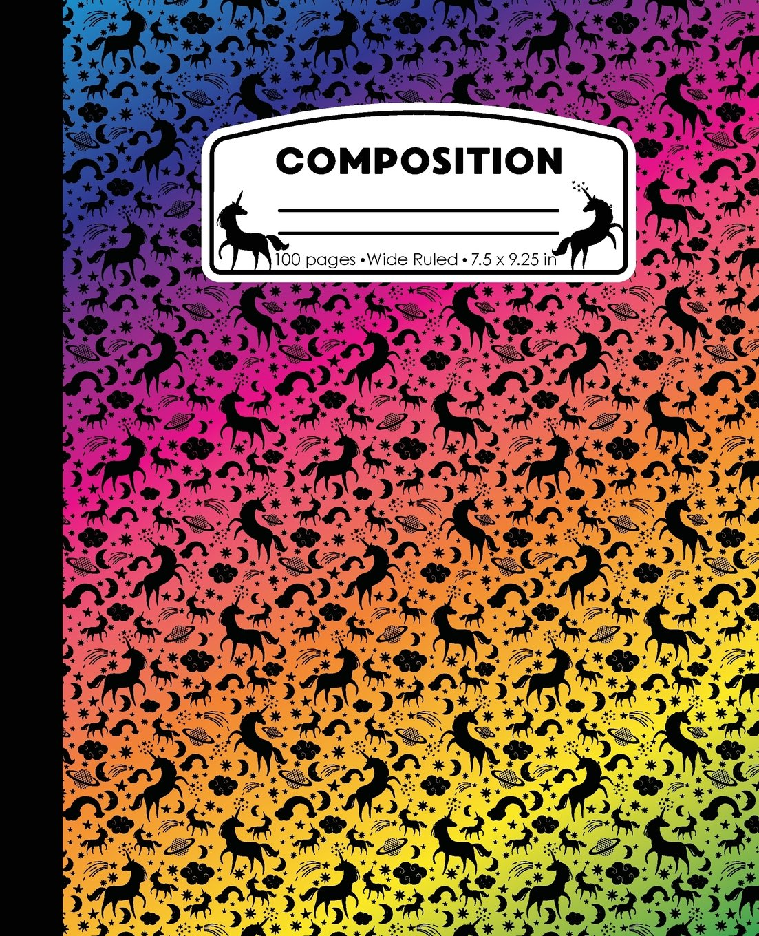 Download Composition: Unicorn Rainbow Marble Composition Notebook Wide Ruled 7.5 x 9.25 in, 100 pages book for girls, kids, school, students and teachers (Unicorn Marble Composition Books) PDF
