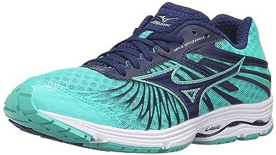 e10e6e07ead3 Mizuno Women's Wave Sayonara 4-W Running Shoe, Blue Depths-Electric Green,