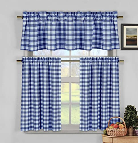 Premium Cotton Blend Gingham Checkered 3 Piece Kitchen Curtain Tier Valance Set – Assorted Colors – Blue White