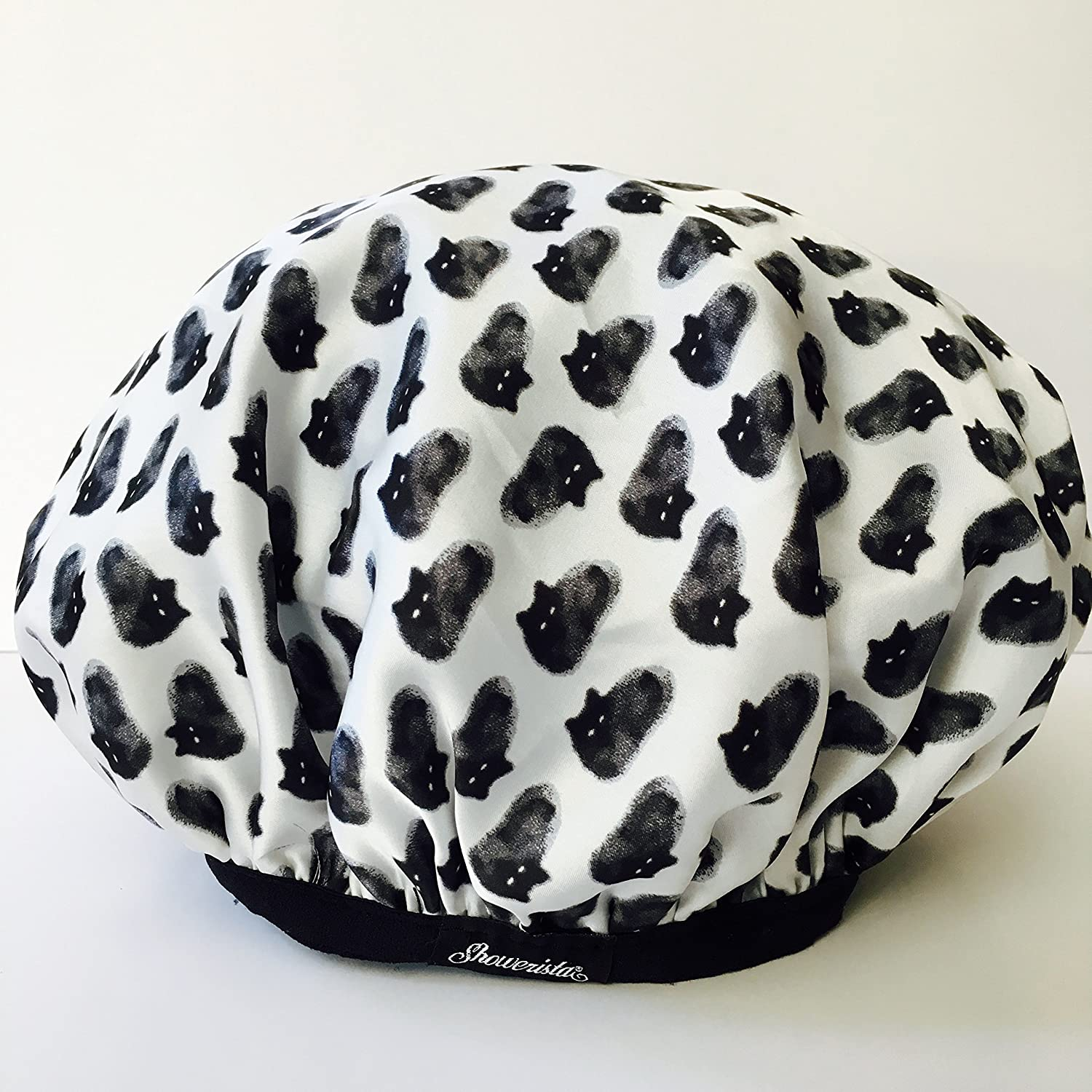 Oversized, Bouffant Shower Cap, Reusable, Kitty Cat Shower Cap by Showerista, Made in USA