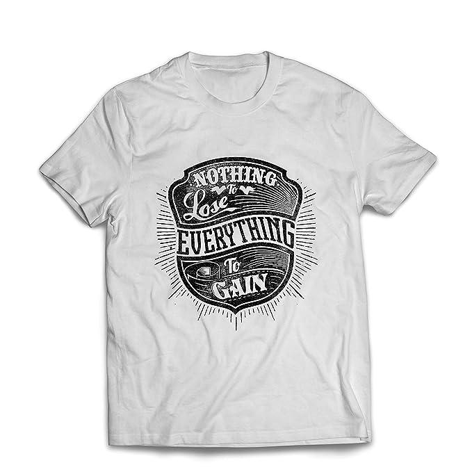 lepni.me Camisetas Hombre Nada Que Perder - Todo para Ganar - Citas Inspiradoras y