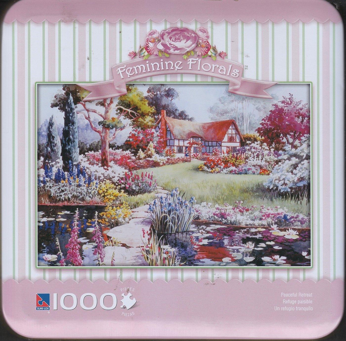 Feminine Florals Peaceful Retreat 1000 Piece Puzzle in Storage Tin