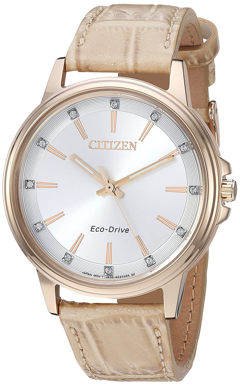 Citizen Women s Eco-Drive Quartz Stainless Steel and Leather Casual Watch, Color Beige Model FE7033-08A