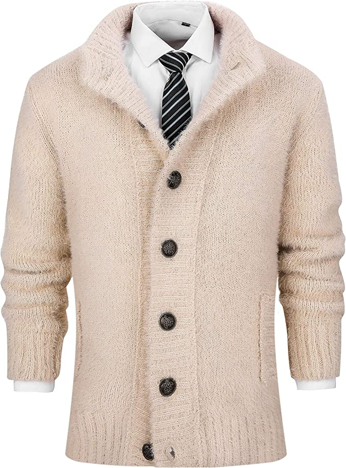 Men's Vintage Sweaters, Retro Jumpers 1920s to 1980s PLREOSEVNTE Mens Casual Collar Cable Knitted Button Down Wool Cardigan Sweater $39.99 AT vintagedancer.com