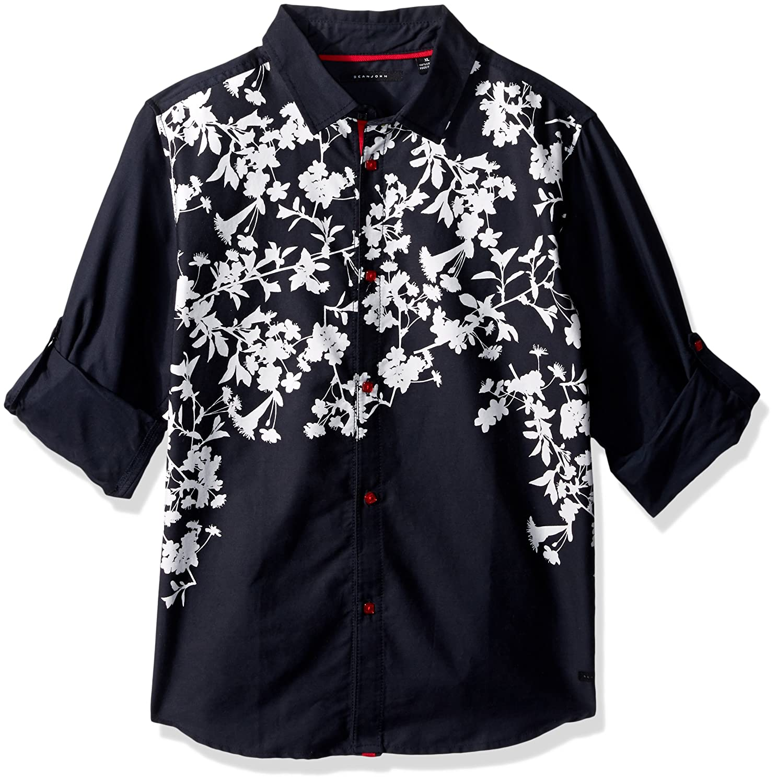 Sean John Boys Printed Twill Long Sleeve Woven Shirt