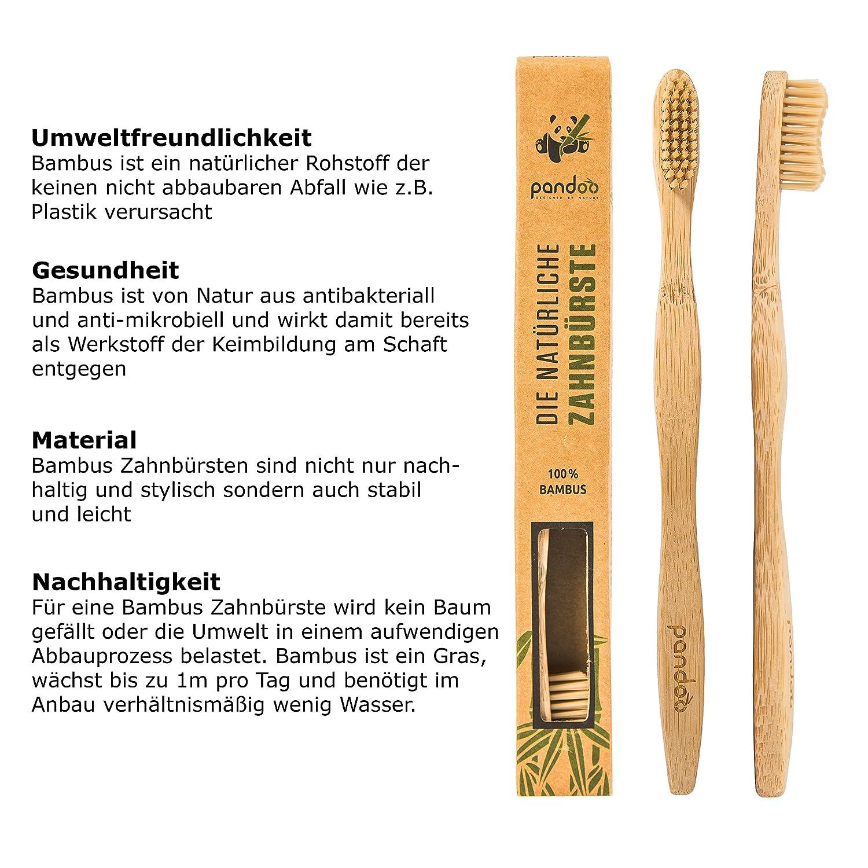 pandoo Cepillos de Dientes en Bambú | Opción de Cepillo y Cerdas Ecológicos, Antibacterianos y Biodegradable a los Cepillos de Plástico | Vegano – ...