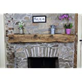 Modern Timber Craft Fireplace Mantel Shelf - Hand Hewn Wood Barn Beam - Authentic Reclaimed Wooden Rustic Shelving 48…