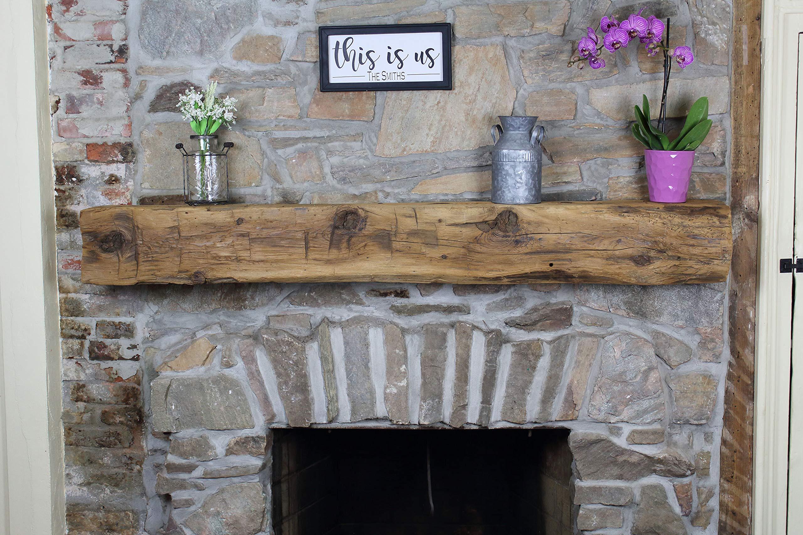 Modern Timber Craft Fireplace Mantel Shelf - Hand Hewn Wood Barn Beam - Authentic Reclaimed Wooden Rustic Shelving 60 Inches by Modern Timber Craft
