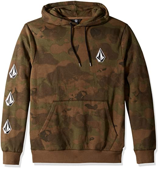611aa5a13 Volcom Men's Deadly Stone Pullover Hooded Fleece Sweatshirt, Camouflage, ...