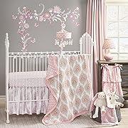 Lambs & Ivy Happi by Dena Charlotte Paisley Medallion Lattice 5-Piece Crib Bedding Set - Pink/Gray/White