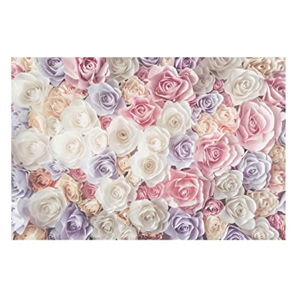 Non-Woven Wallpaper - Pastel Paper Art Roses - Mural Wide Wallpaper Wall Mural Photo