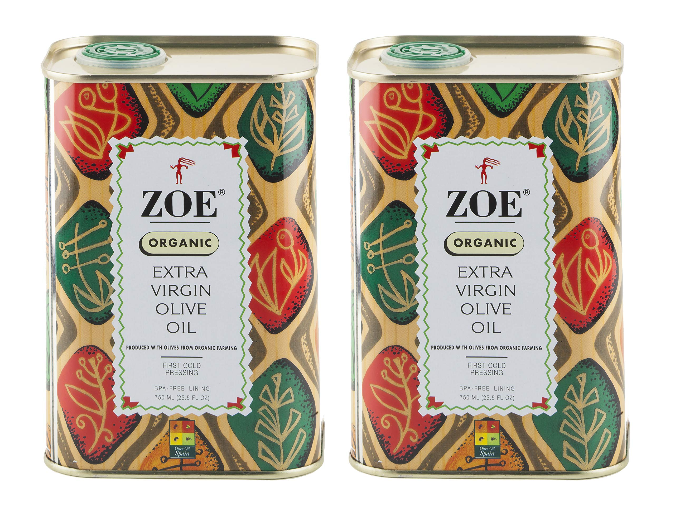 Zoe Organic Extra Virgin Olive Oil, 25.5 Ounce Tin (Pack of 2) by Zoe