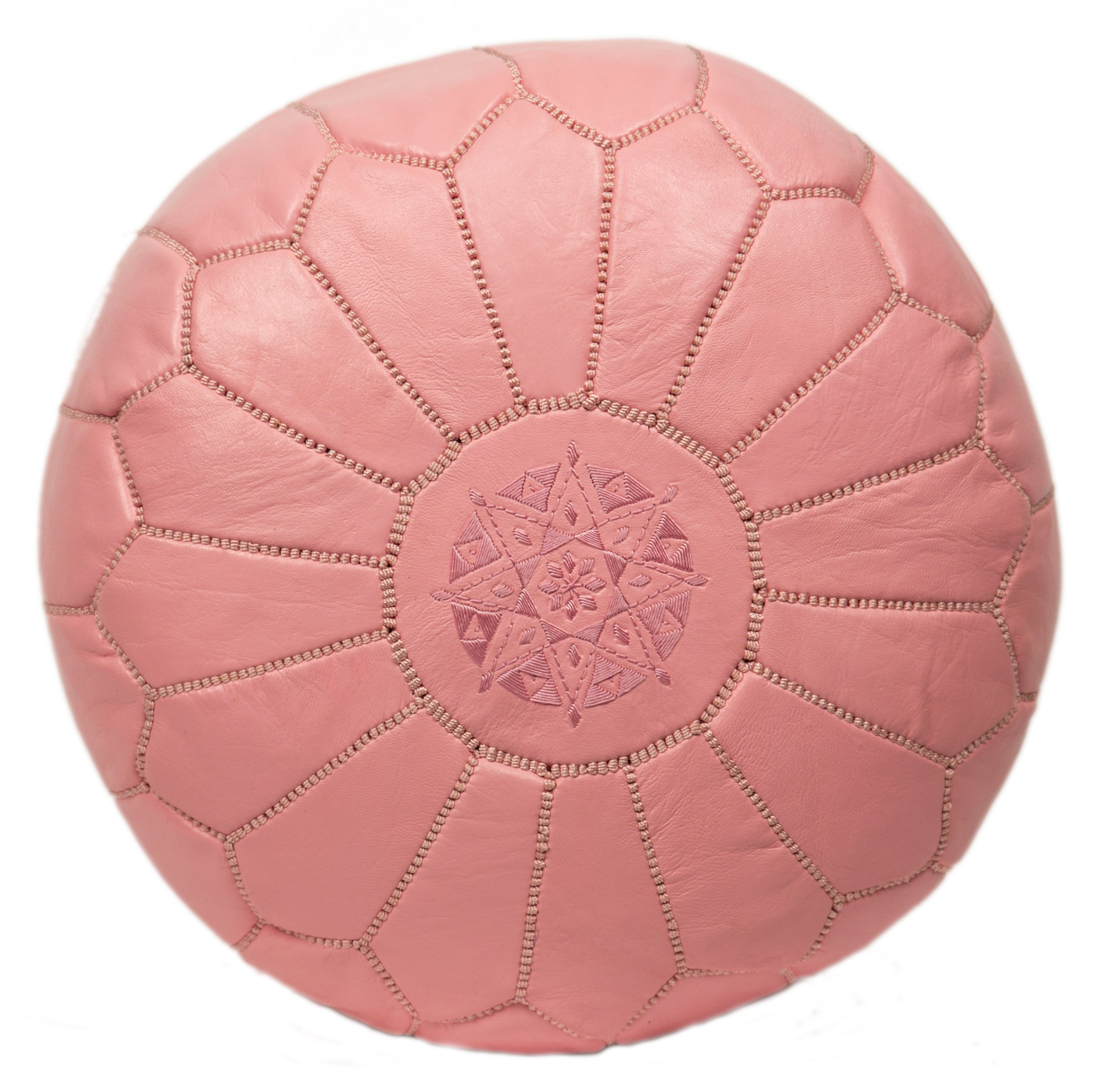 Casablanca Market Moroccan Embroidered Cotton Stuffed Leather Pouf/Ottoman, Pink