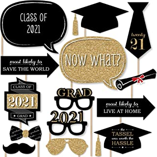 product image for Big Dot of Happiness Graduation Party - Gold - 2021 Grad Photo Booth Props Kit - 20 Count