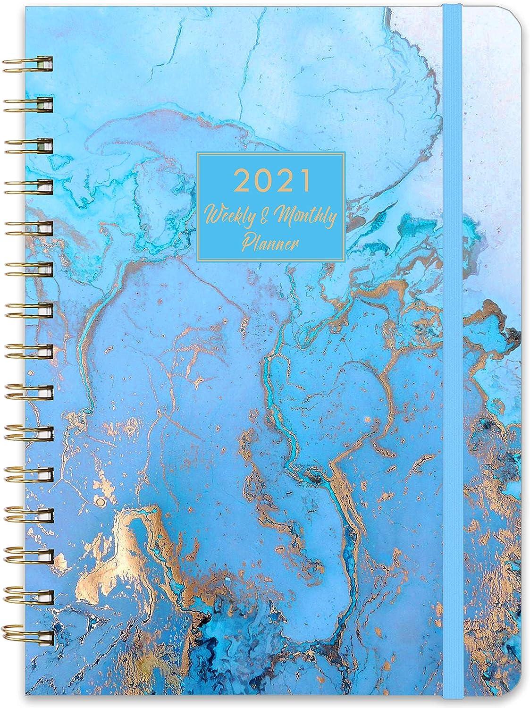 Agenda semanal y mensual con pestañas, 16x21cm Azul