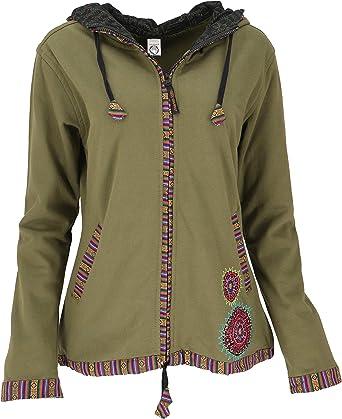 Guru-Shop Nepal Ethno - Chaqueta bordada de algodón para mujer, estilo bohemio verde oliva S: Amazon.es: Ropa y accesorios