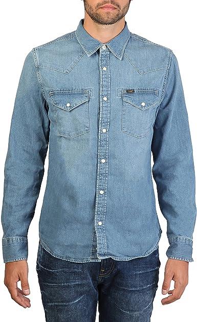 Lee - Camisa Vaquera Casual Modelo Western Hombre Caballero (Pequeña (S)/Azul Cielo): Amazon.es: Ropa y accesorios