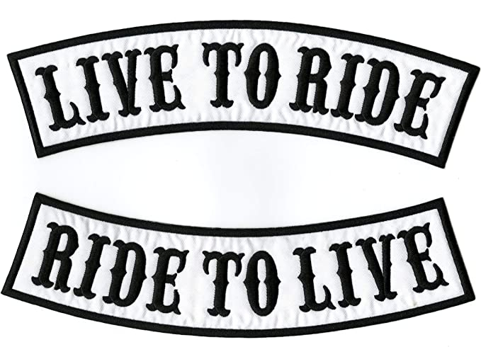 """LIVE TO RIDE RIDE TO LIVE Rockers Jacket Patches Large Biker Motorcycle 12/"""""""