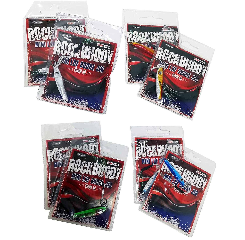 Micro Mini Maxi Gama Cubre 5 g a 19 g Cebo de imitaci/ón para Pesca depredadora 4,2 cm a 7 cm Tres tama/ños Fladen Pesca 8 Surtidos Rockbuddy LRF Jigs Hokki Shore Casting Jigs