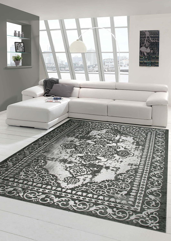 Traum Moderner und Designer Teppich Orientteppich mit Bordüre in Grau Silber Größe 160x230 cm