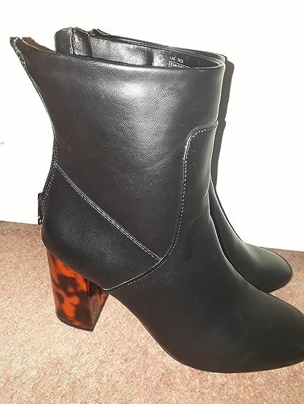 Tesco Black Patterned Heel Ankle Boots
