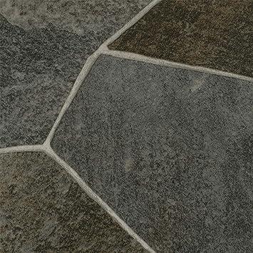 BODENMEISTER BM70569 Vinylboden PVC Bodenbelag Meterware 200 400 cm breit Steinoptik Chip creme wei/ß 300