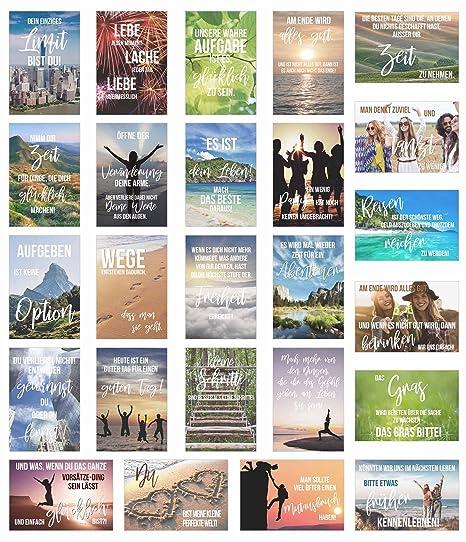 Edition Seidel Set 25 Postkarten Leben Momente Mit Spruchen Karten Mit Spruch Geschenk Dekoidee Liebe Freundschaft Leben Motivation