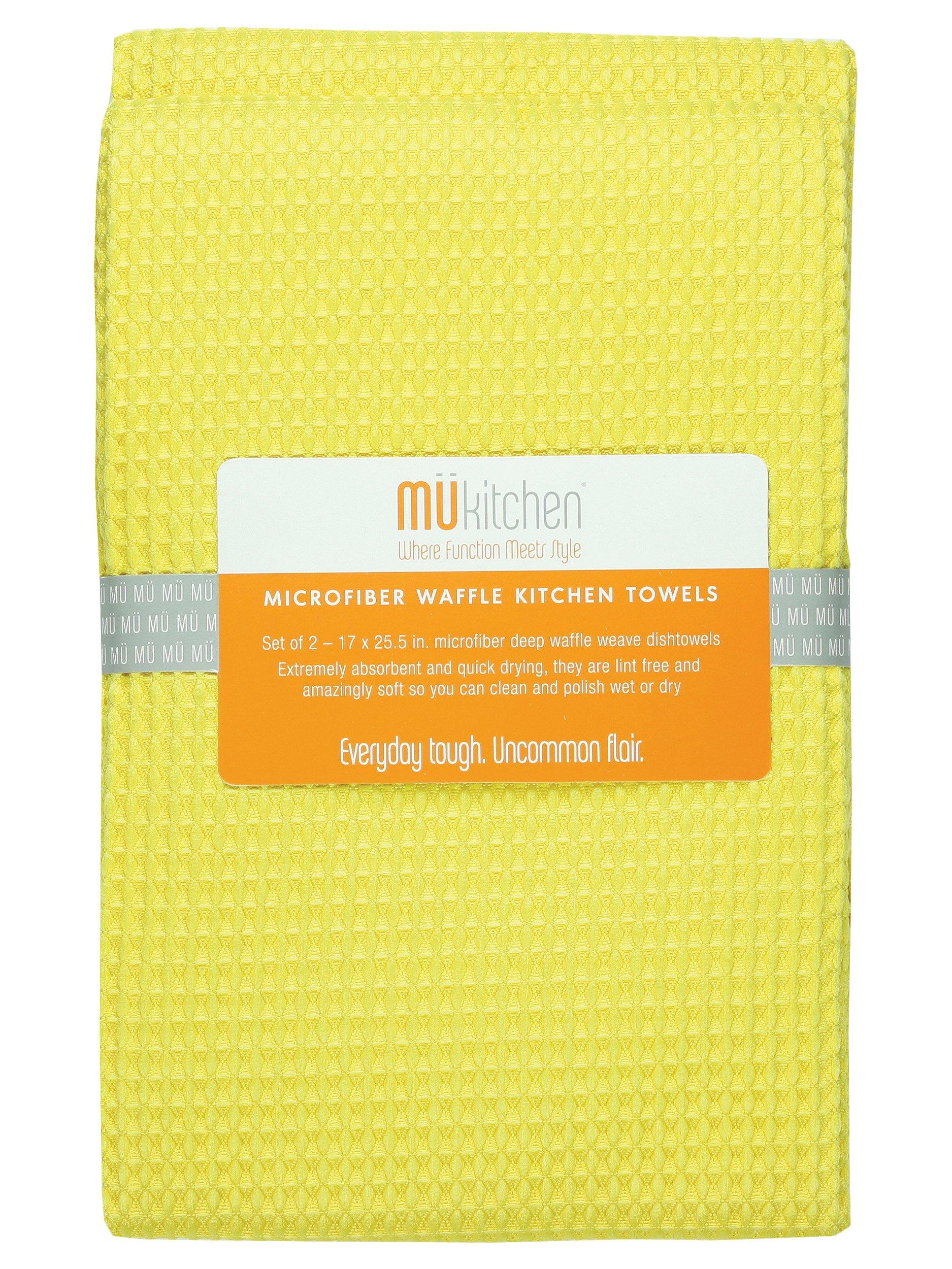 MUkitchen MUmodern Waffle Microfiber Dishtowel, Set of 2, Lemon by MUkitchen