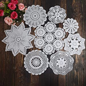 TOSEEY 8Pcs 100% Cotton Hand Crochet Doilies , Varied Sizes, 5-10 Inches for Table Decoration Vintage Wedding Tea Party (White)