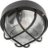 Smartwares BE100Z - Aplique de pared redonda, luz exterior, negra