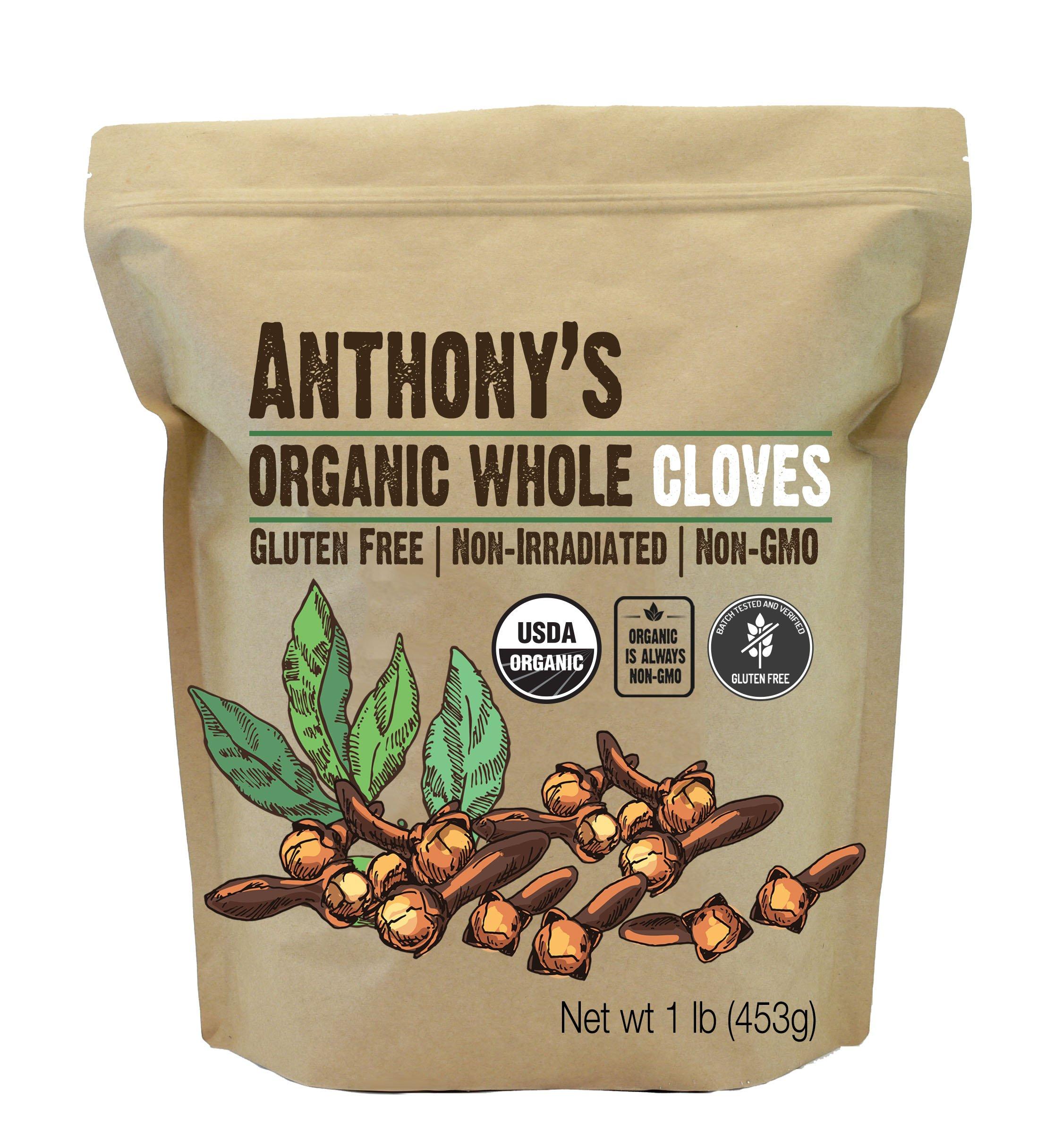 Anthony's Organic Whole Cloves (1lb), Gluten Free, Non-Irradiated, Non-GMO